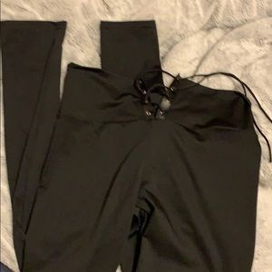Tie up high waisted black leggings